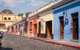 Colorful colonial architecture in Antigua stock photos