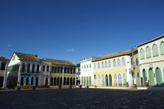 Colorful Colonial Architecture Lencois Bahia Brazil. Historic city center of Lencois Bahia Brazil features colorful colonial architecture around a cobblestone stock photos