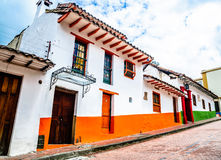 Colorful colonial building in Bogota - Colombia. View on colonial building in Bogota - Colombia stock photo