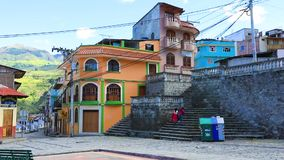 Colorful colonial buildings Alausi Ecuador. Ecuador May 2018 Walking in Alausì a colonisal village known fot its train rides to Devil Nose stock footage
