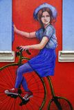 BOGOTA, COLOMBIA, JULY 28, 2018: Mural painting in Bogota. Colorful colonial buildings and the street art in Bogota are the attraction of the tourists. Colombia royalty free stock photos