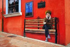 BOGOTA, COLOMBIA, JULY 28, 2018: Mural painting in Bogota. Colorful colonial buildings and the street art in Bogota are the attraction of the tourists. Colombia royalty free stock photography