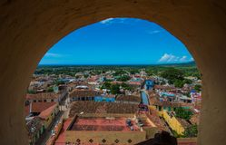 Colorful Colonial Caribbean city overview with sea and sky, Trinidad, Cuba, America. stock photo