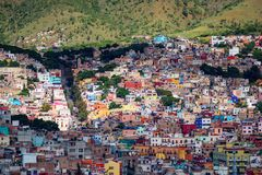 Colorful colonial crowd American city and buildings in hill, Guanajuato, Mexico stock photos