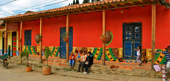 Colorful colonial house, Raquira, Colombia Royalty Free Stock Photo