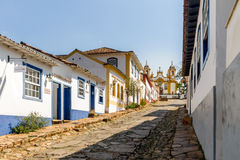Colorful colonial houses and church in city of Tiradentes - Minas Gerais, Brazil Royalty Free Stock Image