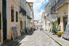 Colorful colonial houses at the historic district of Pelourinho. Salvadore, Bahia, Brazil. Colorful colonial houses at the historic district of Pelourinho. The royalty free stock images