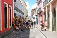 Colorful colonial houses at the historic district of Pelourinho. Salvadore, Bahia, Brazil. Colorful colonial houses at the historic district of Pelourinho. The stock photos