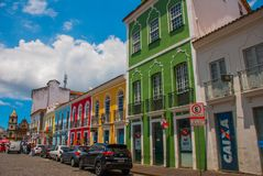 Colorful colonial houses at the historic district of Pelourinho. The historic center of Salvador, Bahia, Brazil. Historic neighborhood famous attraction for royalty free stock image