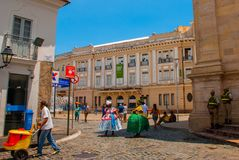 Colorful colonial houses at the historic district of Pelourinho. The historic center of Salvador, Bahia, Brazil. Historic neighborhood famous attraction for stock photography