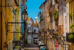Colorful colonial houses at the historic district of Pelourinho. The historic center of Salvador, Bahia, Brazil. Historic neighborhood famous attraction for stock photos
