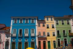 Colorful colonial houses at the historic district of Pelourinho. The historic center of Salvador, Bahia, Brazil. Historic neighborhood famous attraction for stock photo