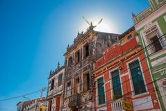 Colorful colonial houses at the historic district of Pelourinho. The historic center of Salvador, Bahia, Brazil. Historic neighborhood famous attraction for stock images