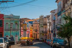 Colorful colonial houses at the historic district of Pelourinho. The historic center of Salvador, Bahia, Brazil. Historic neighborhood famous attraction for royalty free stock photos