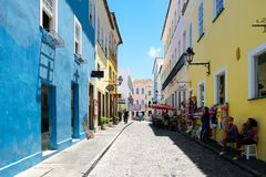 Colorful colonial houses at the historic district of Pelourinho. Salvadore, Bahia, Brazil. Colorful colonial houses at the historic district of Pelourinho. The royalty free stock photo
