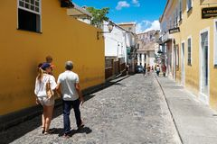 Colorful colonial houses at the historic district of Pelourinho. Salvadore, Bahia, Brazil. Colorful colonial houses at the historic district of Pelourinho. The royalty free stock photos