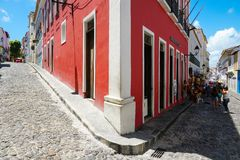 Colorful colonial houses at the historic district of Pelourinho. Salvadore, Bahia, Brazil. Colorful colonial houses at the historic district of Pelourinho. The royalty free stock photography