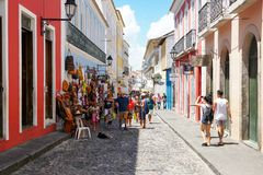 Colorful colonial houses at the historic district of Pelourinho. Salvadore, Bahia, Brazil. Colorful colonial houses at the historic district of Pelourinho. The royalty free stock image