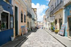 Colorful colonial houses at the historic district of Pelourinho. Salvadore, Bahia, Brazil. Colorful colonial houses at the historic district of Pelourinho. The stock images