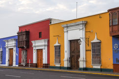 Colorful colonial houses in Trujillo downtown, Peru Royalty Free Stock Image