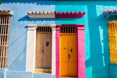 Colorful colonial houses at the walled city of Cartagena de Indias. The colorful colonial houses at the walled city of Cartagena de Indias stock photo