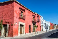 Colorful Colonial Street. In Oaxaca, Mexico Stock Image