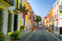Colorful Colonial Street in Downtown Puebla. Colorful colonial street in downtown, Puebla, Mexico Stock Image
