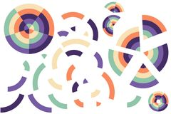 Colorful color circles, broken shapes. Puzzle pieces, isolated on white background Stock Image