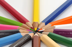 Colorful color crayons. Isolated on white background stock photo