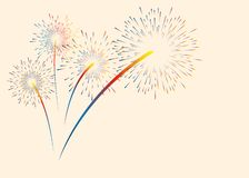 Colorful color fireworks. Vector illustration for Christmas, new year, anniversary and other holidays. Place for text. royalty free illustration