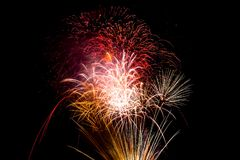 Colorful Color light fireworks on theBackground at night. in Bangkok Thailand stock photo