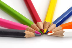 Colorful color pencil. Isolated on white background Stock Photos