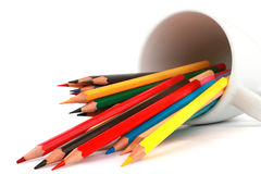 Colorful color pencil arranged in diagonal line on white background Stock Photo