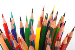 Colorful color pencil arranged in diagonal line on white background Royalty Free Stock Photos