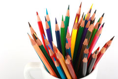 Colorful color pencil arranged in diagonal line on white background Royalty Free Stock Image