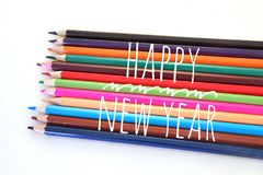 Colorful color pencil in concept of Happy New Year. Colorful color pencil in the concept of Happy New Year Royalty Free Stock Photos