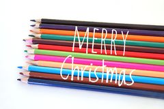 Colorful color pencil in concept of Merry Cristmas. Colorful color pencil in the concept of Merry Cristmas Royalty Free Stock Photo