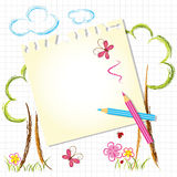 Colorful Color Pencil Drawing Background. With Note Paper Royalty Free Stock Image