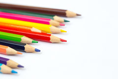 Colorful color pencil paint art creative concept. Stock Photos