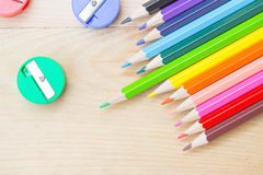 Colorful color pencil paint art creative concept. Royalty Free Stock Photos