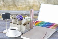 Colorful Color pencils for art drawing.Notebook of blank pages w Royalty Free Stock Photo