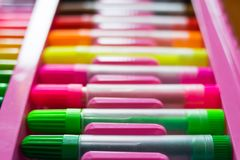 Colorful of color pens.  stock image