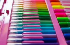 Colorful of color pens.  royalty free stock photography