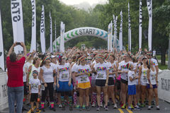 Colorful Color Run Particpants at the Starting Line Stock Photography