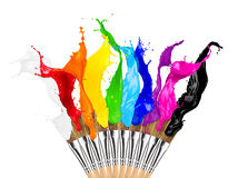 Colorful color splash paintbrush row. Colorful color splashes paintbrush row isolated on white background Stock Photography