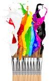 Colorful color splash paintbrush row Royalty Free Stock Image