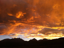 Colorful Colorado Clouds. Fire in the sky in the Saguache Mountain range in Colorado Royalty Free Stock Photography