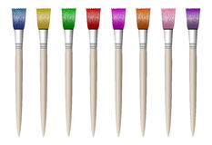 Colorful colored brushes for drawing, simple,  in white Royalty Free Stock Image