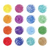 Colorful colored pencil hand-painted art illustration : circles. High-resolution 2D CG illustration vector illustration