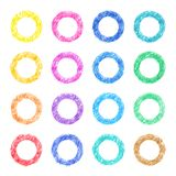 Colorful colored pencil hand-painted art illustration : rings. High-resolution 2D CG illustration stock illustration